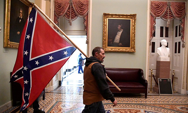 What is the Confederate flag raised by Trump supporters at the protests in the United States?