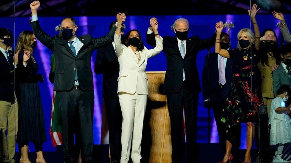 Imhoff and Harris with Joe Biden and Jill Biden.