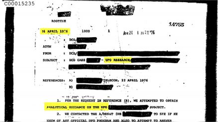 CIA: They released a large portion of the agency's documents referring to UFO sightings