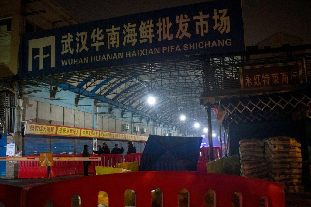 Zona comercial en Wuhan.