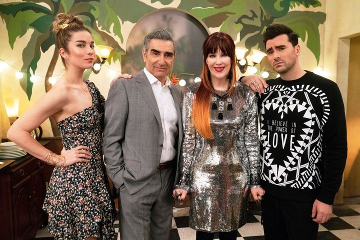 Annie Murphy, Eugene Levy, Catherine O'Hara and Dan Levy are Shit Creek heroes.  AP Pictures