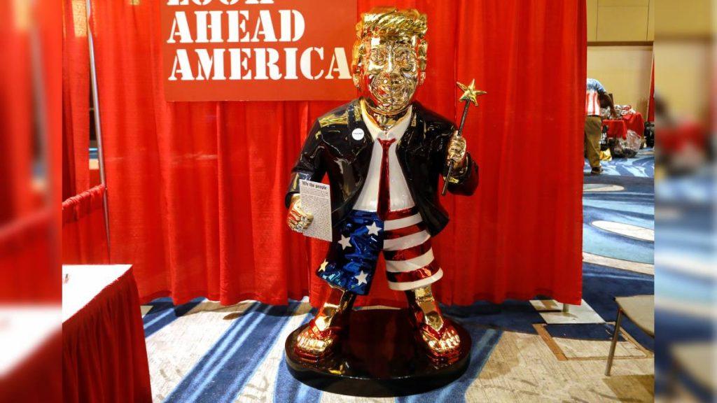 DONALD TRUMP: Loyal Republicans unveil a golden statue of a former president