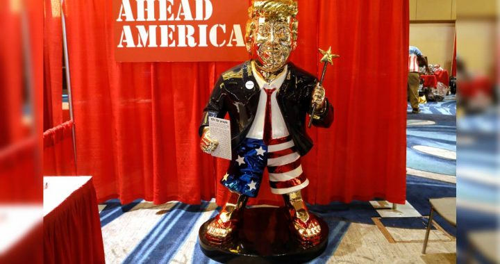 DONALD TRUMP: Loyal Republicans unveil a golden statue of a former president