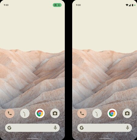 Android 12 Filter Themes Colors System Notifications Privacy Use of Microphone Camera
