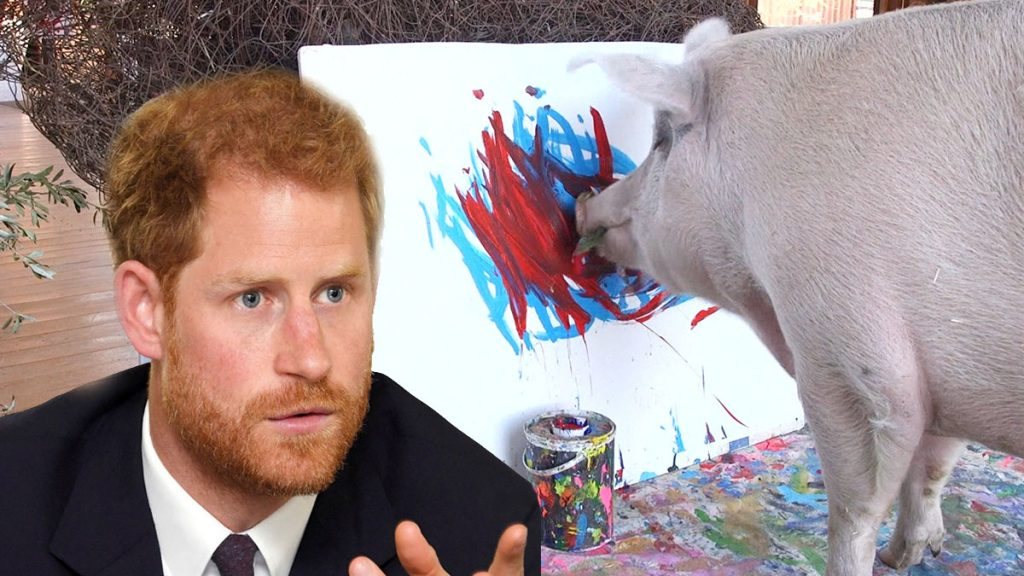 Pigcasso: A painter pig who sells Prince Harry's portrait