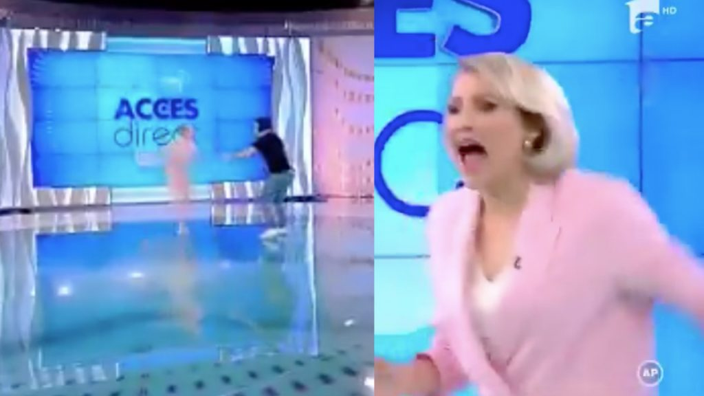 In Romania, a woman without clothes and a brick attacks a journalist alive