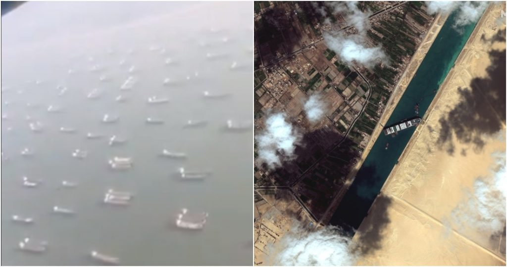 The videos show the traffic jams generated in the Suez Canal due to the blockade of the Evergreen ship