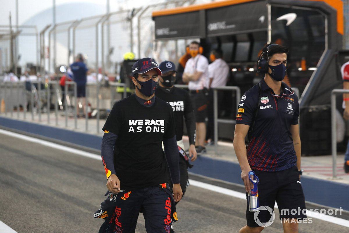 Sergio Perez, Red Bull Racing, in the pit lane