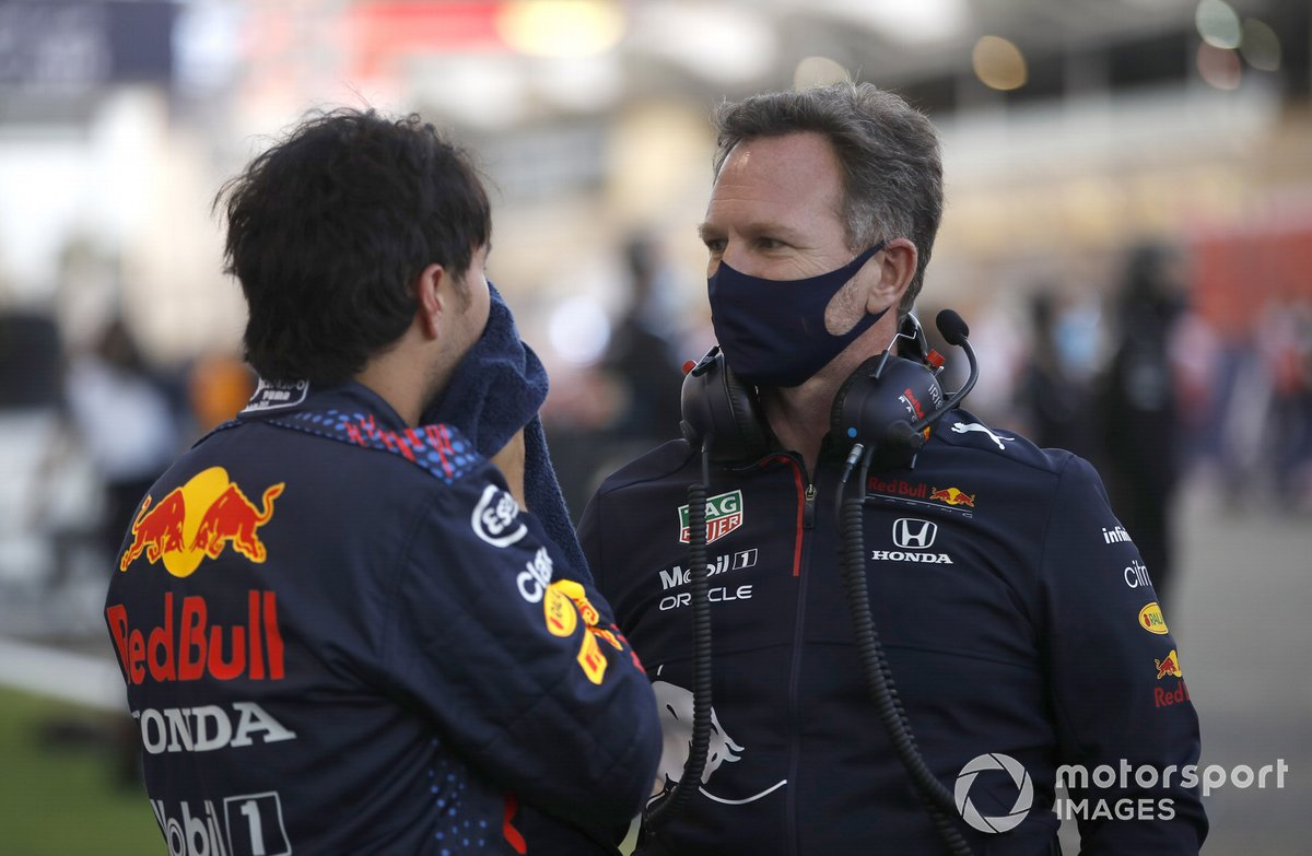 Sergio Perez, Red Bull Racing, with Christian Horner, Red Bull Racing Manager