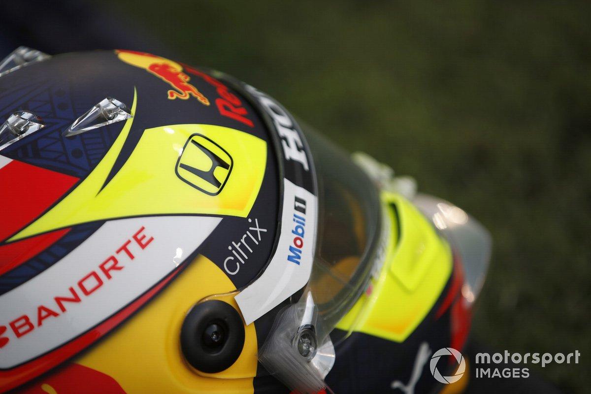 Detail of Sergio Perez's helmet, Red Bull Racing