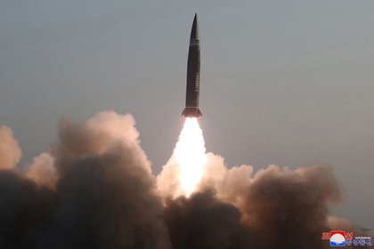 New Class Tactical Guided Missile, according to the Korean Central News Agency, launched on March 25, 2021, Pyongyang, North Korea, March 26, 2021. (Reuters) / The Korean Central News Agency (KCNA)