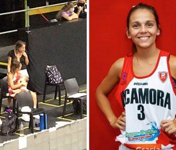 Una jugadora de baloncesto argentina amamanta a su hija en un partido y la foto se hace viral