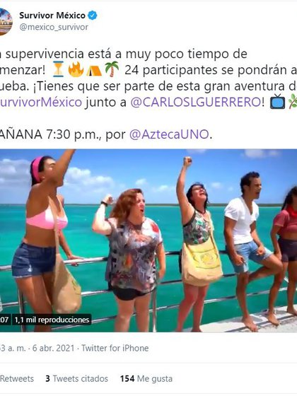 This is how Survivor's official account announced the start of its new season (Image: Twittermexico_survivor screenshot)