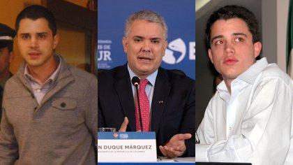 Thomas Uribe, Ivan Duque, and Geronimo Uribe.  Photos: Colprensa.