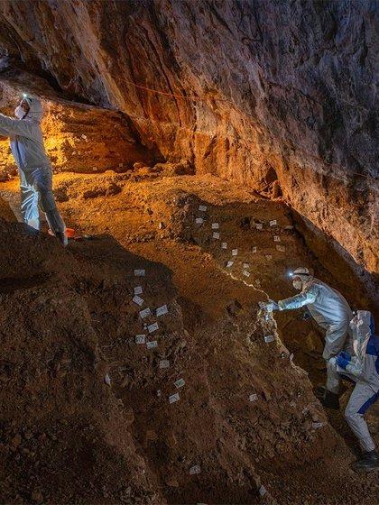 Sampling of different cave cultural strata.  (Devlin A. Gandhi)