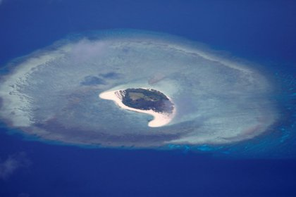 Aerial view of the uninhabited Spratly Island in the disputed South China Sea