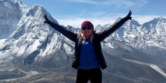 This was Alfa Karina Aruestra's first night at Everest Base Camp