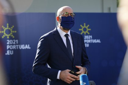 President of the European Council, Charles Michel, speaks to the press upon his arrival at Crystal Palace to attend an informal meeting within the framework of the European Social Summit in Porto, Portugal, on May 8, 2021. Reuters / Violetta Santos Moura / Gathering