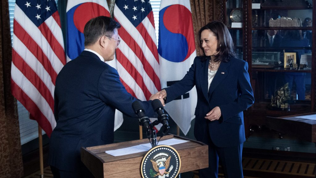 Kamala Harris criticized herself for cleaning herself up after shaking hands with the South Korean president