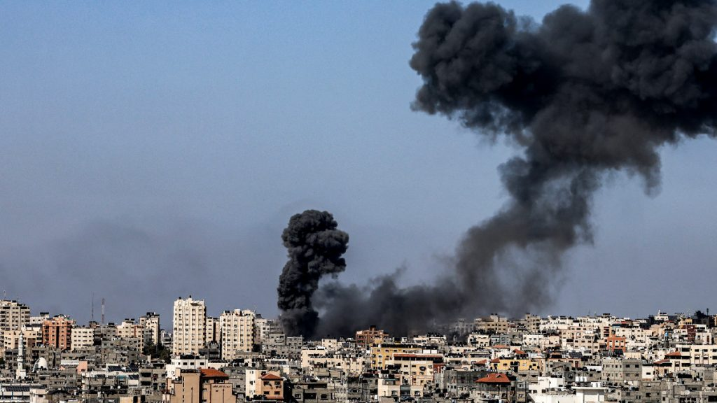 In Gaza, a building collapsed after it was hit by an Israeli missile