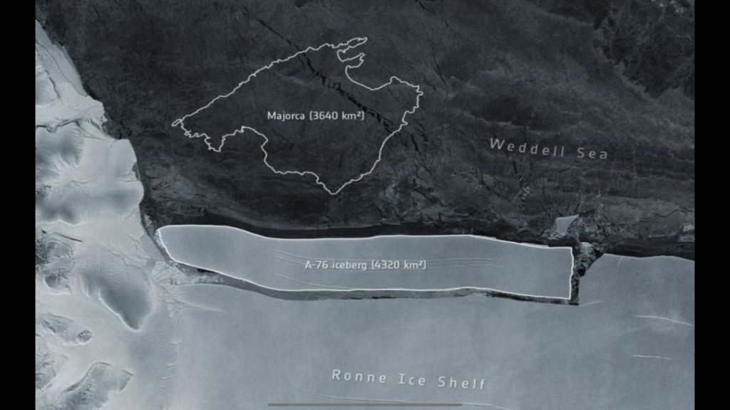 The world's largest iceberg is refracted and can be seen from space