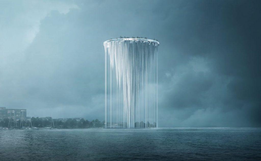 Torre flotante en la bahía de Qianhai Shenzhen, China