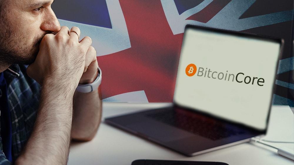 Pantalla con logo de Bitcoin Core, bandera de Reino Unido y hombre preocupado.