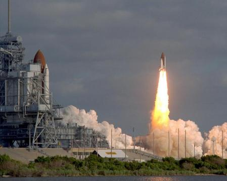 The Hubble Space Telescope takes off on April 24, 1990