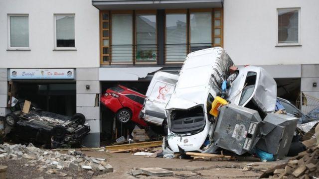 Flood damage in Bad Neuenaer-Arueller, Germany.