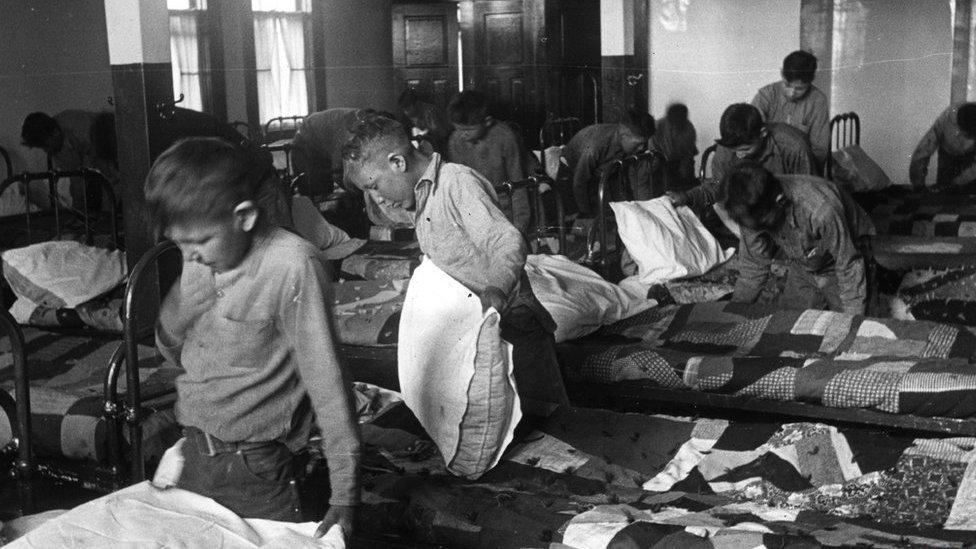 Children at a boarding school for aboriginal minors in Canada in 1950.