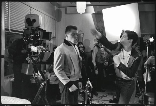"""Eric Stoltz and Thomas F. Wilson filming a scene from """"Back to the future"""".  Photo: BTTF.com"""