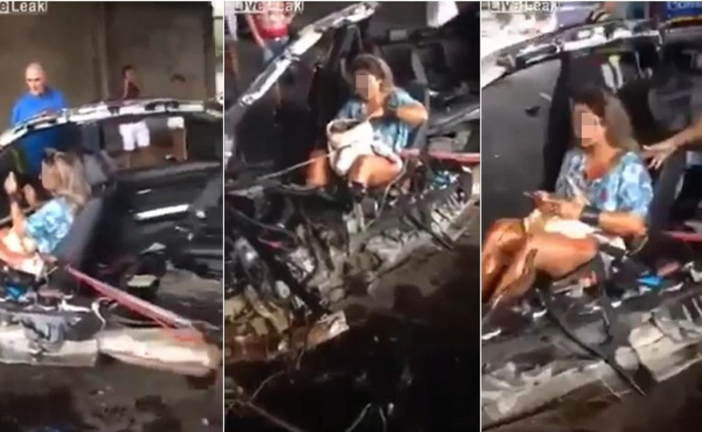 A woman applied makeup in front of her lifeless boyfriend's body