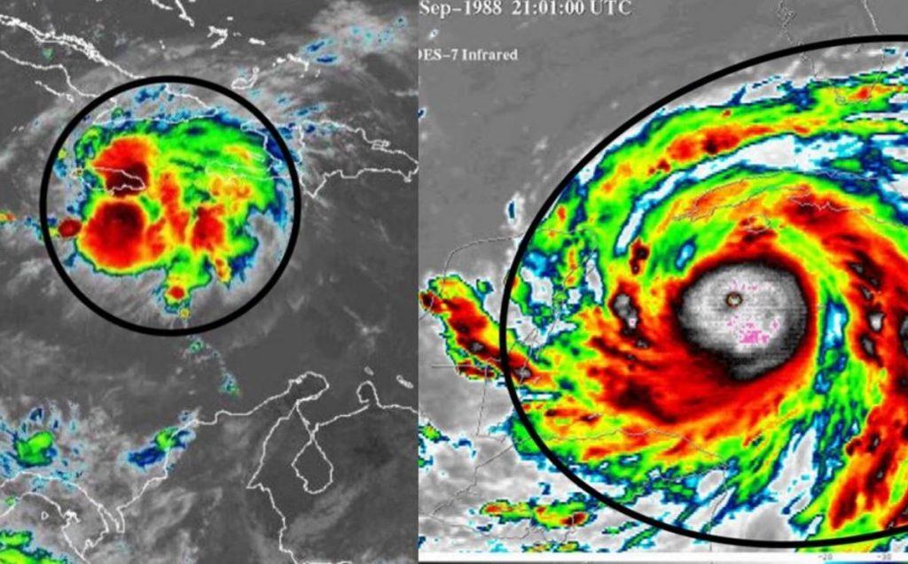 El huracán Gilberto tenía un diámetro mucho mayor.