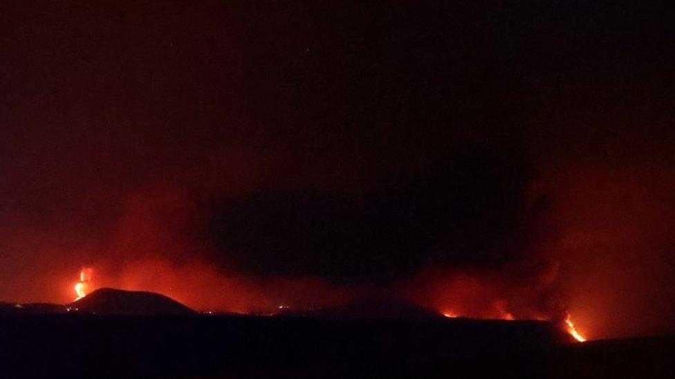 Lava reaches the sea at La Palma