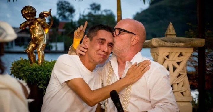 Eder Meneghine y Hugo Oliveira se casaron este mes en Brasil.