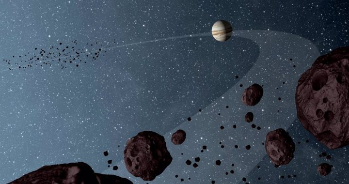 The space.  NASA launches a probe to study asteroids in the orbit of Jupiter